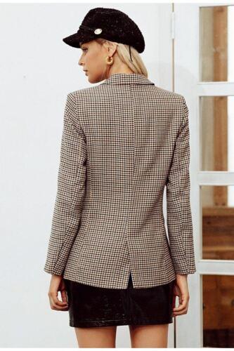 Office Kvinder Double Breasted Coats Plaid Jacket Blazer Langærmet Uw1Xw