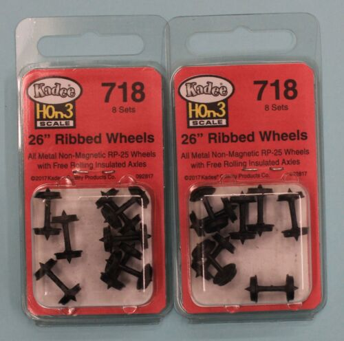 """KADEE 718-26/"""" Ribbed Back Non-Magnetic Metal Wheels HOn3 Scale LOT of 2"""