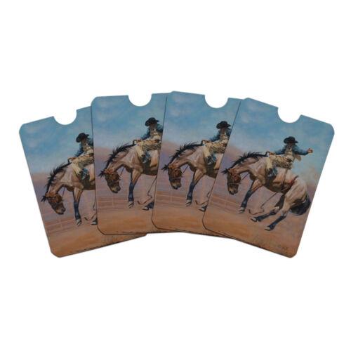 Saddle Bronc Horse Cowboy Riding Rodeo  Credit Card RFID Blocker Sleeves Set