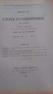 Rivista SCUOLA Antropologia 15 Eme Anni 1905 F.Alcan N° V ABE