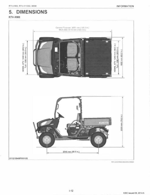 Kubota RTV X900 X1100 New Seat cover 2013-19 X1100C X1120D X1140 RTVX900 996A