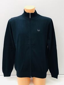Versace-1969-ligero-con-el-logotipo-bordado-en-azul-marino-Jersey-de-cremallera-completa-M-XXL-BNWT