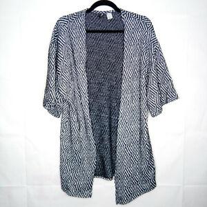H-amp-M-Divided-Open-Front-Sweater-Women-Size-S-Diamond-Print-Black-White