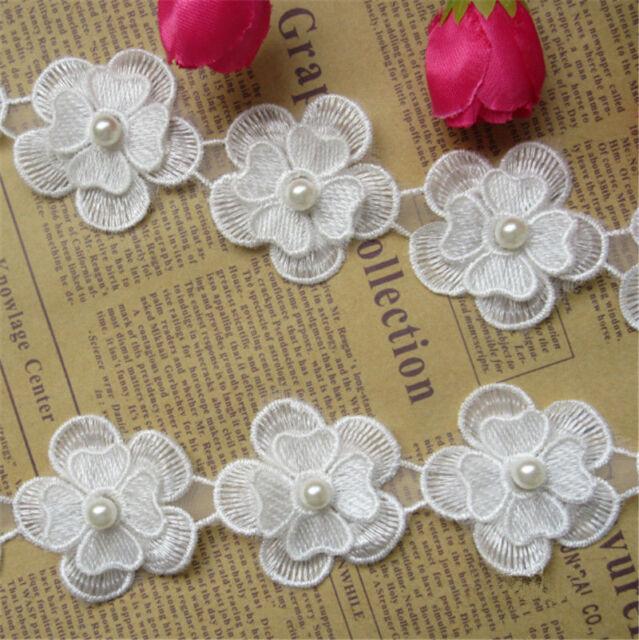 1yd White Flower Pearl Lace Edge Trim Wedding Ribbon Applique Sewing Craft DIY