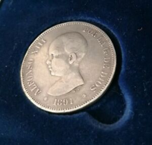 1891 PG M ALFONSO XIII SPAIN MADRID SILVER 5 FIVE PESETAS COIN