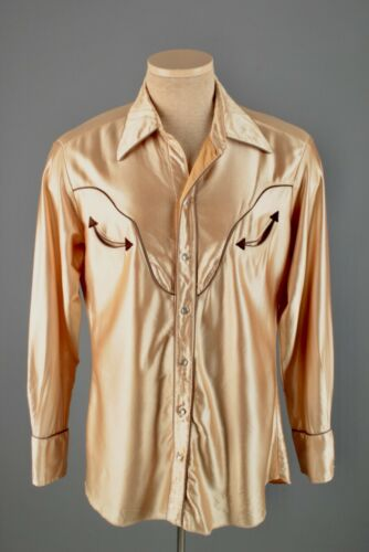 Men's 1970s H Bar C Shiny Satin Western Shirt M/L