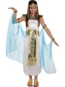 Girls Cleopatra Costume Child Egyptian Queen Toga Fancy Dress Outfit
