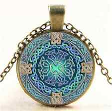 Vintage Celtic Eye of the World Cabochon Glass Bronze Pendant  Necklace