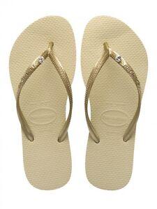 b13fe7dbbec768 Image is loading Havaianas-Slim-Swarovski-Crystal-Glamour-Gold-Flip-Flops-