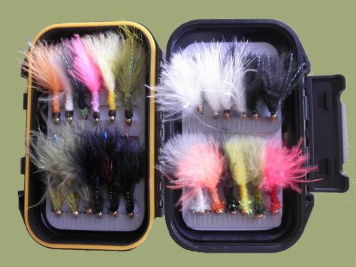 TROTE Mosche varietà misti e Colori 24 COFANETTO Oro Perline esche artificiali pesca a mosca