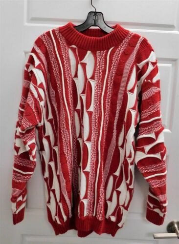Coogi Australia Red White Pullover Knit Sweater L