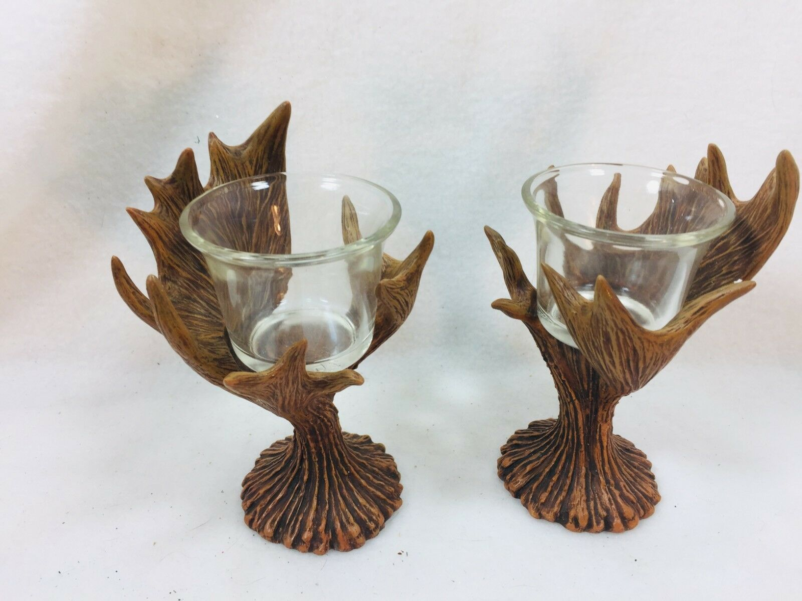 2 Rustic Antler Votive Candle Holder Pair Set Lodge Country Westland 25715