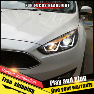 Details about For Ford Focus Headlight assembly Bi-Xenon Lens Double Beam  HID KIT 2015-2018