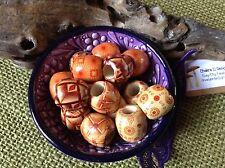 Dreadlock Beads 10 x Patterned Wood 7-8mm Hole Painted Dread Beads FREEPOST Uk