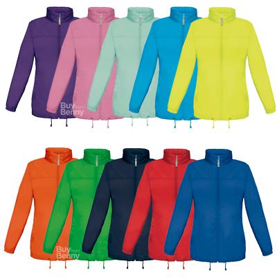 B&c Lightweight Jacket Windproof Rain Coat Concealed Hood Ladies Pastel Colours Exquisite (In) Verarbeitung