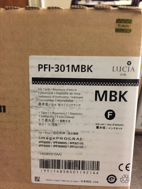Canon PFI-301MBK matte black Lucia ink tank 1485B001[AA] for iPF8000/9000 Free S