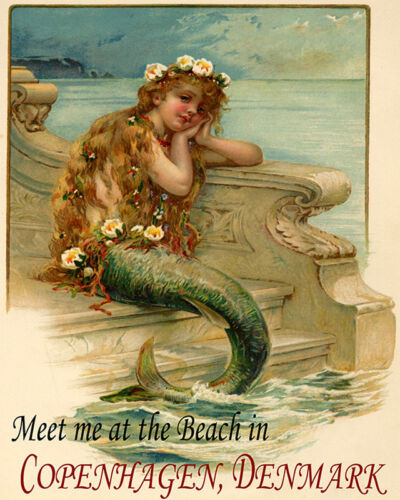 POSTER MERMAID MEET AT THE BEACH COPENHAGEN DENMARK TRAVEL VINTAGE REPRO FREE SH