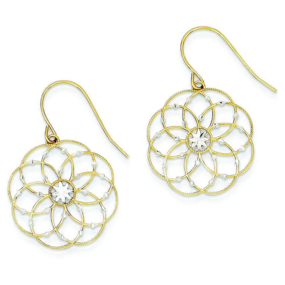 14K Two-Tone gold D C Fancy Circles Dangle Shepherd Hook Earrings MSRP  341