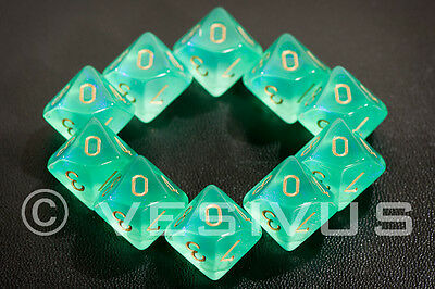 DICE Chessex Borealis LIGHT GREEN 10d10 d10 Set Glitter Sparkle RPG Clear 27225