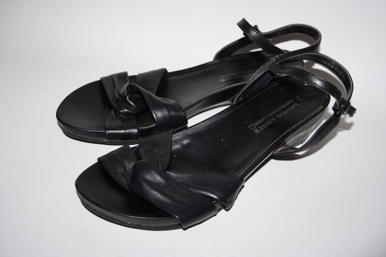 Laura Conte Black Fashion Designer Ladies Woman's Sandals Shoes Black Conte Leather 4 UK f80fed