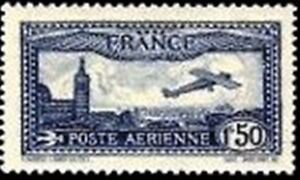 FRANCE-TIMBRE-STAMP-AVION-N-6-034-AVION-SURVOLANT-MARSEILLE-034-NEUF-X-TB
