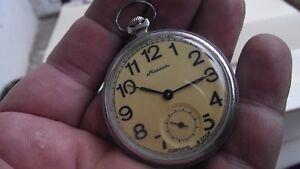 MOLNIJA VINTAGE RUSSIAN pocket Watch SU 18 Jewels mechanism 3602®  СССР