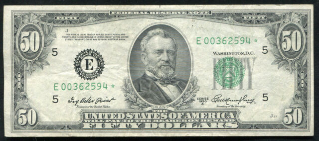 FR. 2108-E* 1950-A $50 FIFTY DOLLARS *STAR* FRN FEDERAL RESERVE NOTE