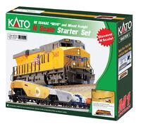 Kato N Gevo Es44ac And Bnsf Swoosh Rtr Mixed Freight Train Starter Set