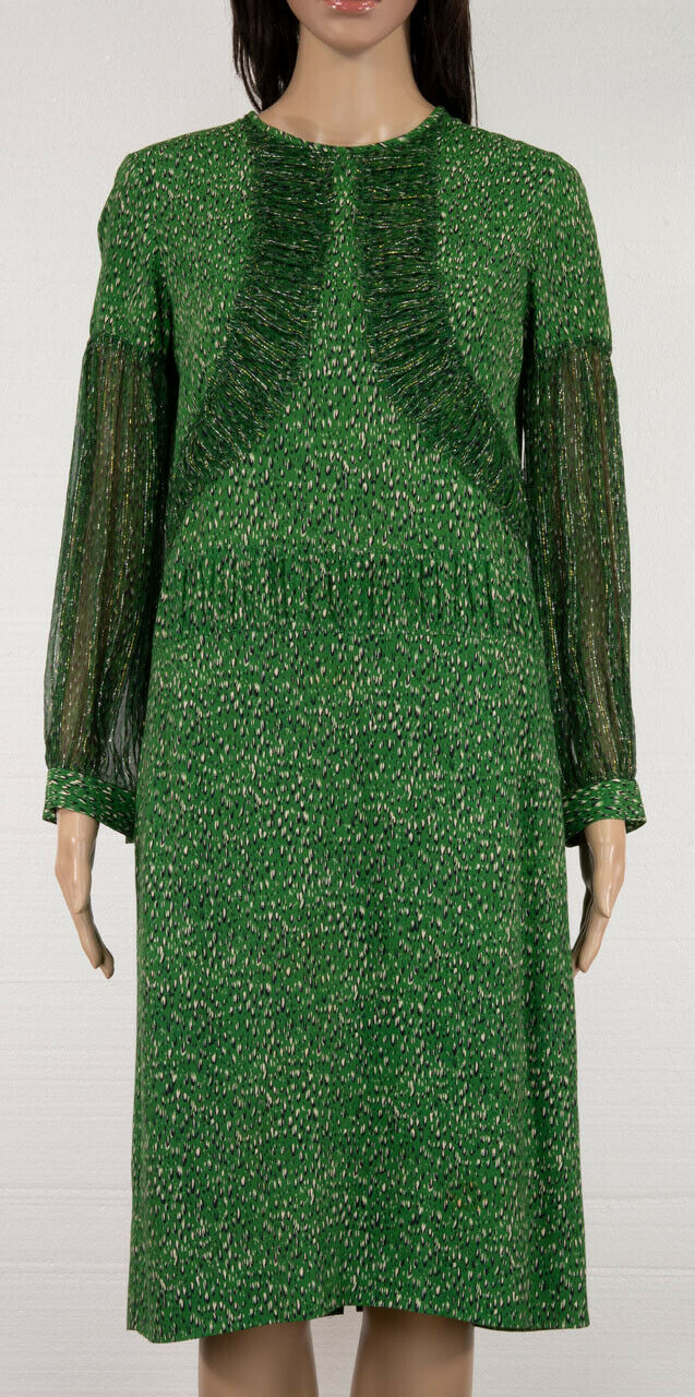 DRIES VAN NOTEN PRINTED SILK VISCOSE LONG SLEEVES DRESS SIZE 38
