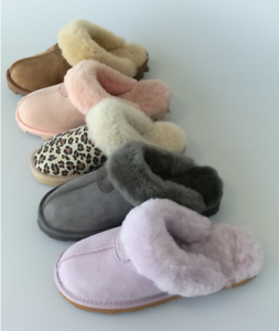 UGG-Scuffs-Slippers-100-Australian-Twinface-Sheepskins-Grip-Sole-Premium-5-Color