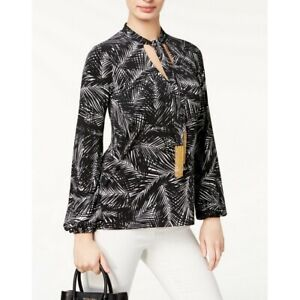 MICHAEL-KORS-NEW-Women-039-s-Printed-Jersey-Tie-front-Blouse-Shirt-Top-TEDO