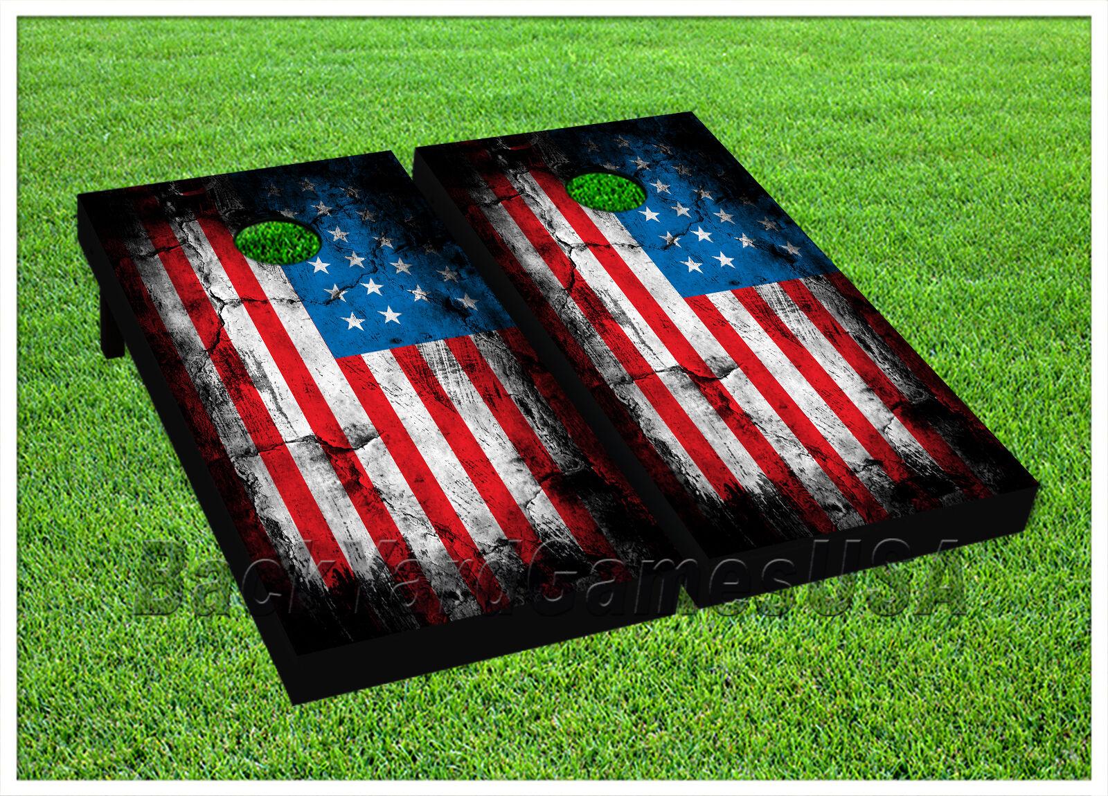CORNHOLE BEANBAG TOSS GAME w Bags Game Boards American Flag USA Stars Set 977