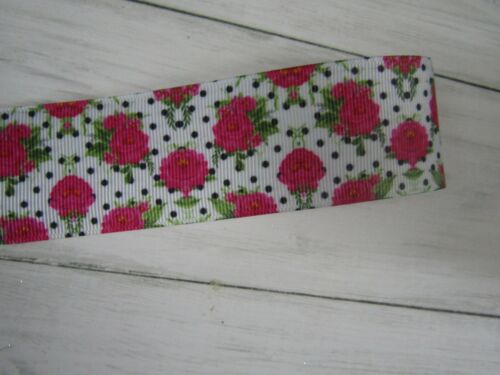FLOWERS ROSES FLORAL   GROSGRAIN RIBBON 1 2 3 METRE BOWS CRAFTS CAKES  1.5/""
