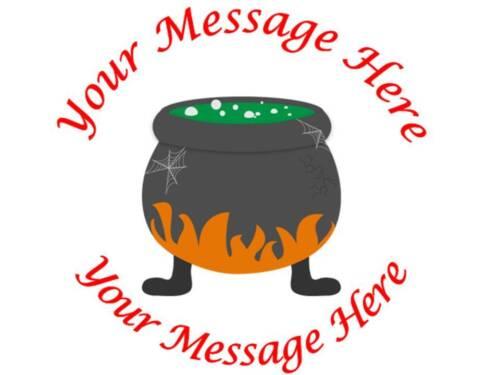 35 Personalised Halloween Stickers Cauldron Gift Label Sticker Sweet bag Treat