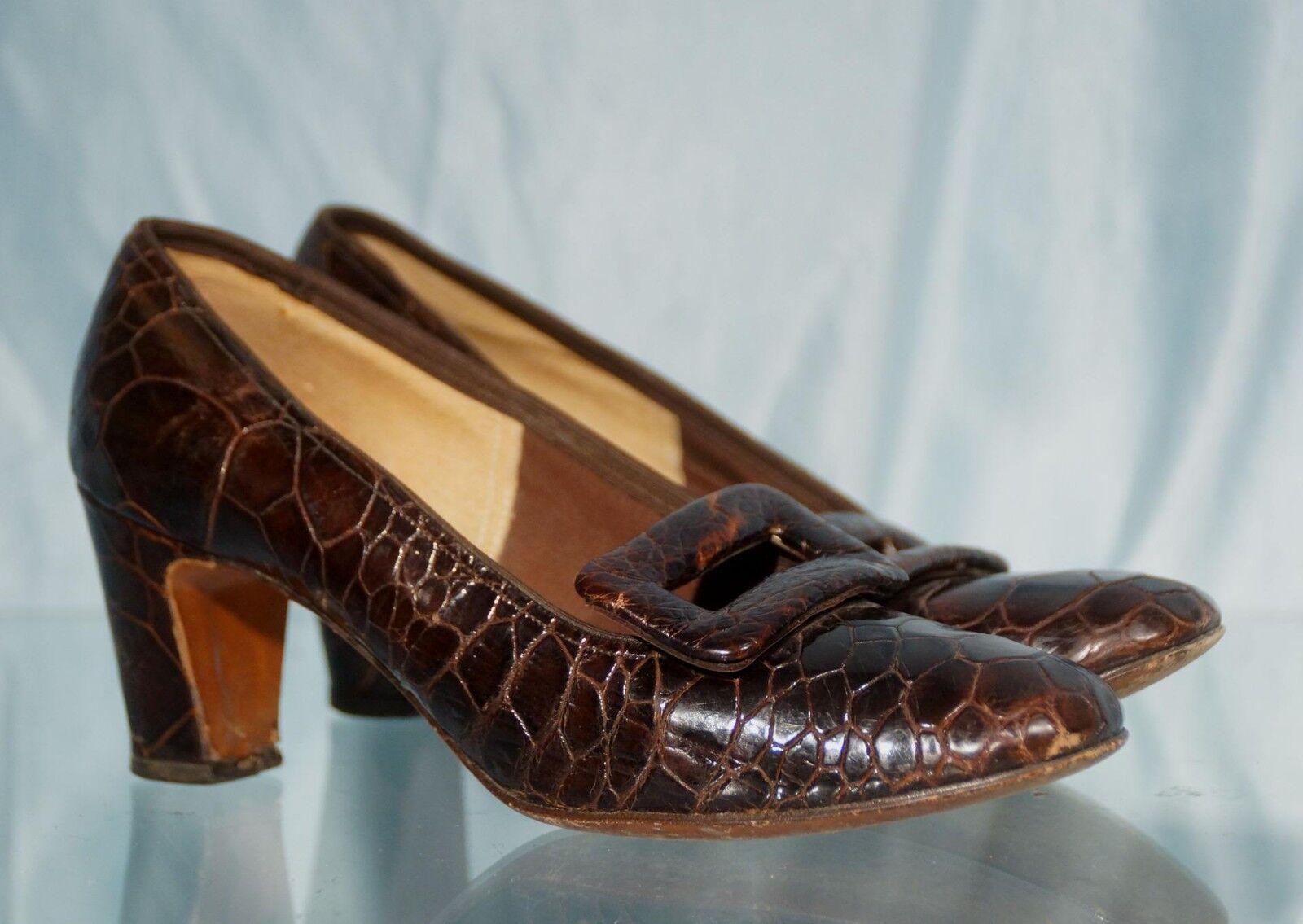 Vintage 1950s Buckle Dark braun Crocodile AFFINITI Buckle 1950s Pumps Sz 6B 9d2b85