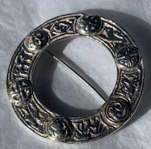 Scottish Silver Brooch Kilt Pin Plaid Pin 1890s Celtic Antique Victorian