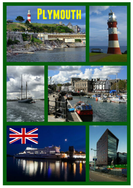 PLYMOUTH, DEVON - SOUVENIR NOVELTY FRIDGE MAGNET - FLAGS / SIGHTS / NEW / GIFTS