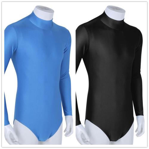 Mens Long Sleeves Bodysuit Wrestling Singlet Jumpsuit Leotard Thong Tops Fitness