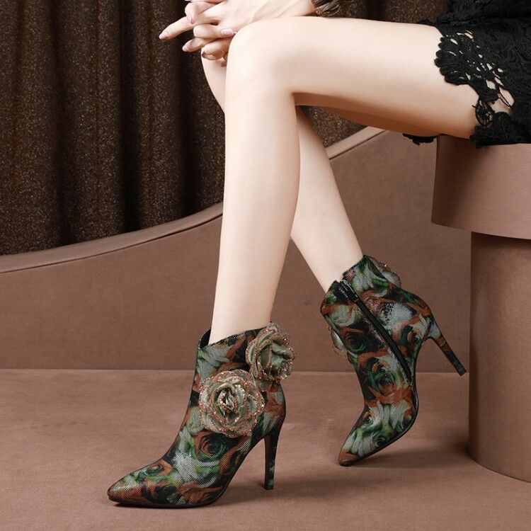 Womens Ladies Fashion Suede Leather Floral Decor High Heel Ankle Boots shoes Sea