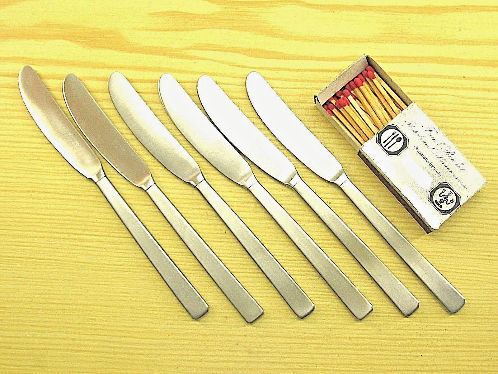 6 Buttermesser Obstmesser Kuchenmesser, HUGO POTT 2789, 18 8 Edelstahl 1770S