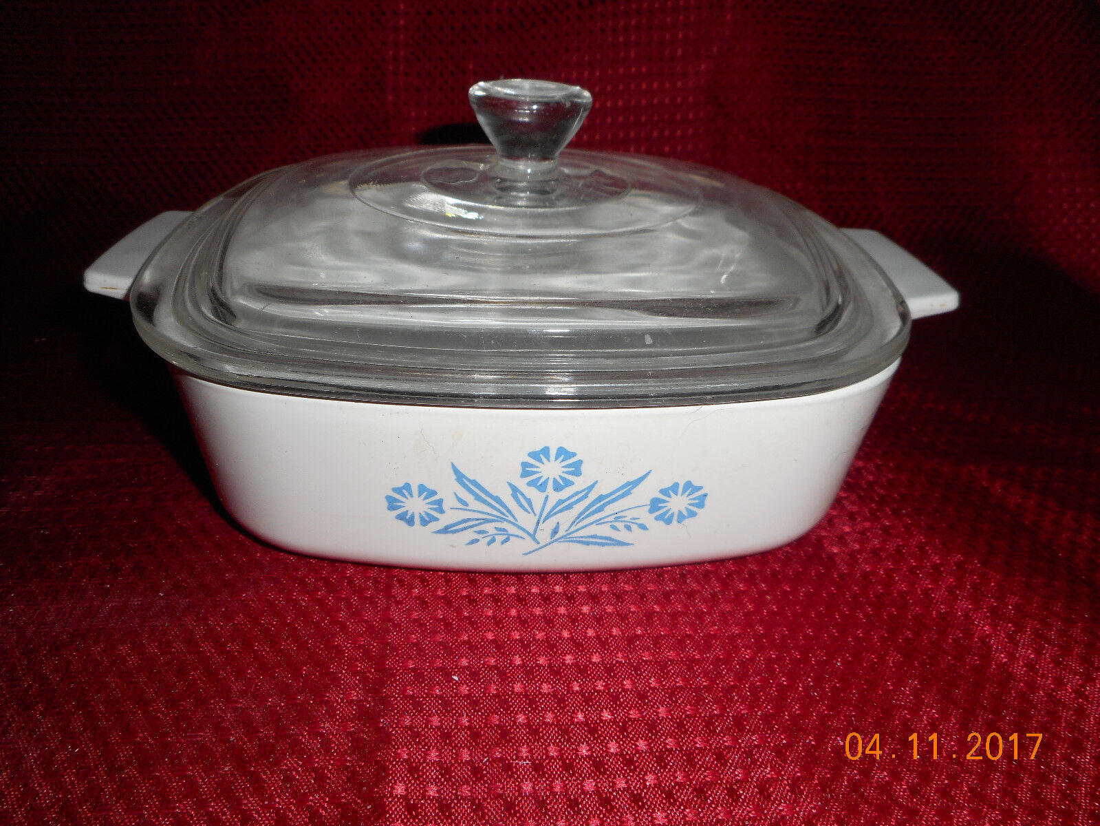 Corning Ware Casserole Bowl With Glass Lid 1 Quart Blue Flowers