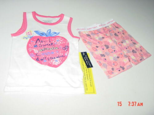 NWT Toddler Girls 2 piece Summer Pajama set White Pink Fruit Theme Glitter