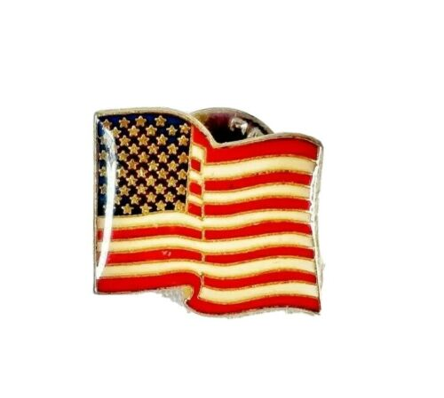 Gold Tone White and Blue Red Vintage USA Flag Lapel Pin America Tack Pin Patriotic Pin