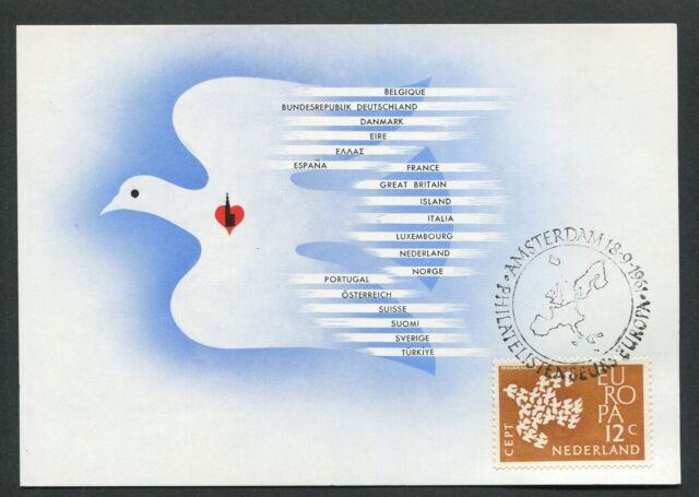 NIEDERLANDE MK 1961 EUROPA CEPT TAUBE DOVE MAXIMUMKARTE MAXIMUM CARD MC CM d3431