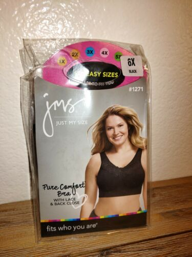 Just My Size JMS 6X Pure Comfort Bra with Lace Back Close Black NEW in Pack 1271