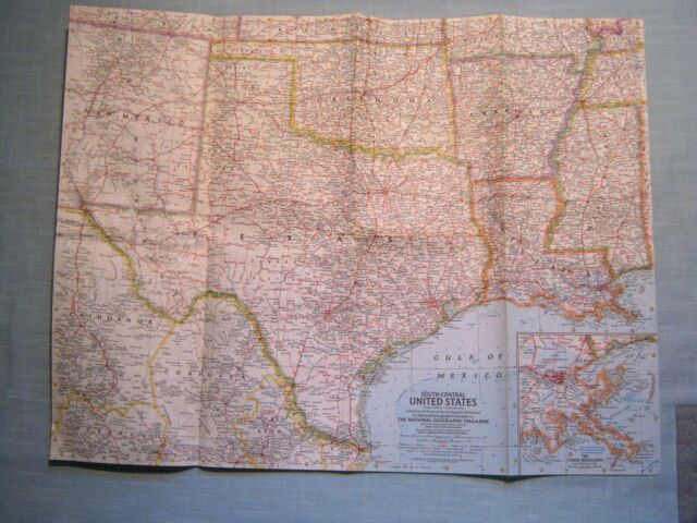 National Geographic supplement to February 1961 MAP of South Central US LIKE NEW