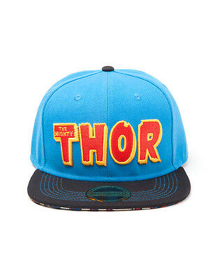 MARVEL COMICS - THE MIGHTY THOR TEXT SYMBOL BLUE SNAPBACK CAP WITH PRINTED VISOR