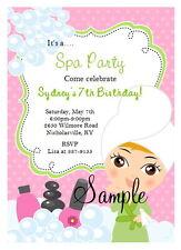 12 Personalized Girls Spa Party Birthday Slumber Sleepover Invitations Manicure