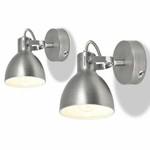 vidaXL-2x-Wall-Lamps-2-Bulbs-E14-Grey-Luminaire-Spot-Light-Lighting-Fixture