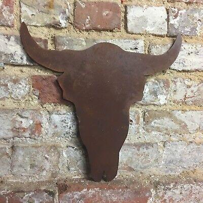 Rusty Bulls Head tête de vache crâne bois signe metal shop Home bar pub coiffeur